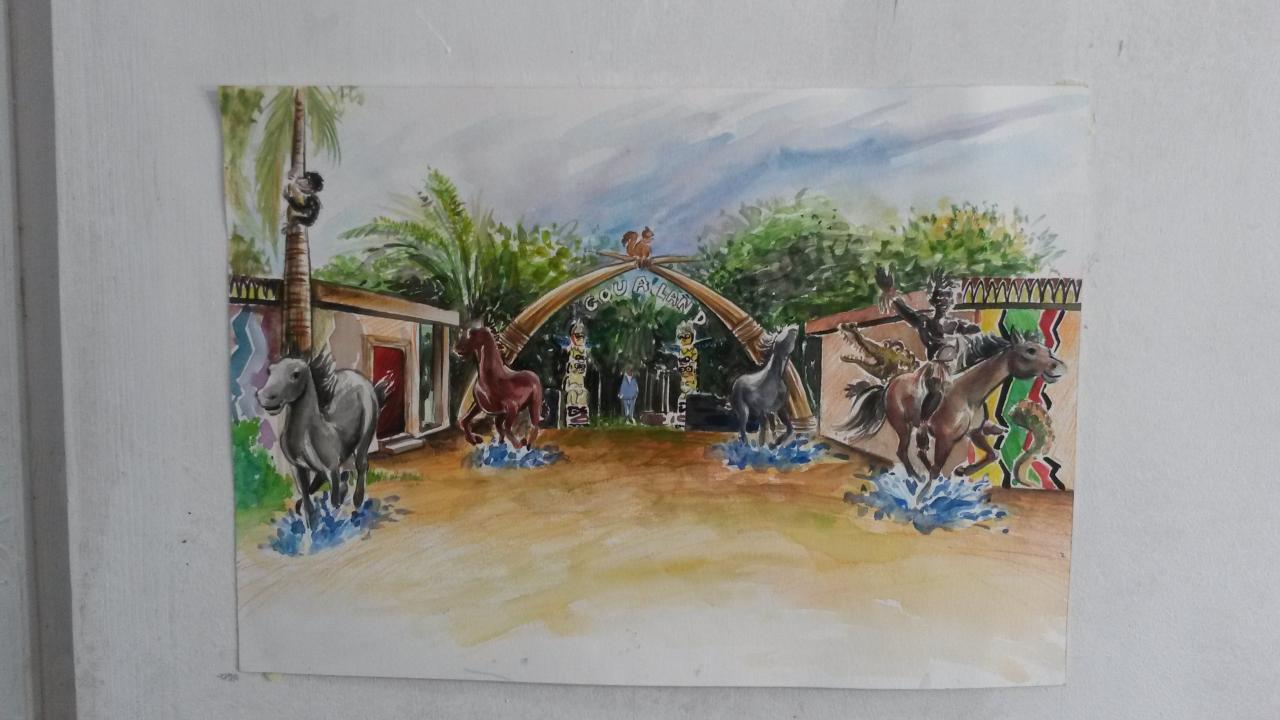 Aquarelle parc AgouaLand Cotonou Benin